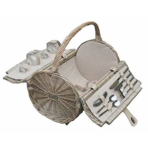Barrel 2 Person Retro Style Fitted Picnic Basket