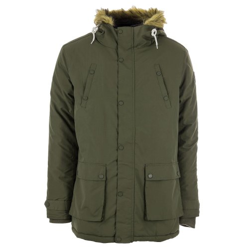 Henleys Men's Informa Faux Fur Hooded Padded Parka Coat Olive