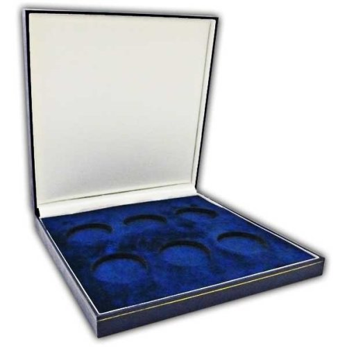 Coin Medal Presentation Box Display Case Six Coin 44mm Navy Blue
