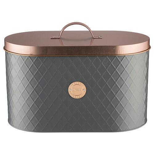 Typhoon Living Lid Bread Bin, Stainless-Steel, Grey/Copper, 34 x 18.5 x 20 cm