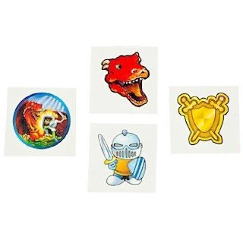 Pack of 12 - Dragons & Knights Temporary Tattoos - Party Bag Fillers