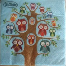 4 x Paper Napkins - Owl Family Tree - Great for Decoupage / Napkin Art