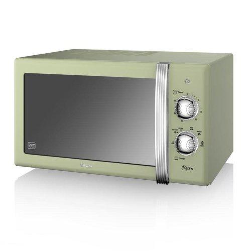 Swan Retro Manual Microwave 20 Litre 800 Watt - Green (Model No. SM22130GN)