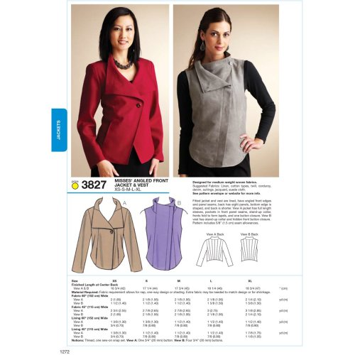 Angled Front Jacket & Vest-XS-S-M-L-XL -*SEWING PATTERN*