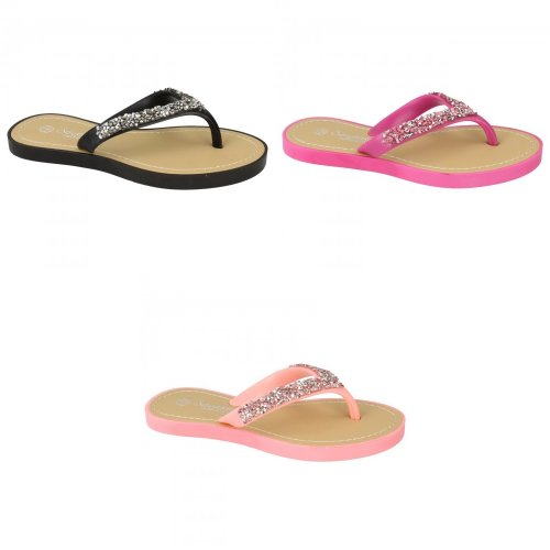 Savannah Childrens Girls Flat Crushed Diamante Flip Flops
