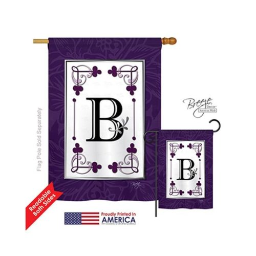 Breeze Decor 30002 Classic B Monogram 2-Sided Vertical Impression House Flag - 28 x 40 in.