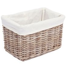 Large Rectangular Wicker Storage Basket with Cotton Lining