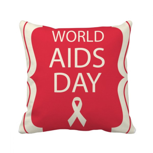 Red Ribbon 1st December HIV Throw Pillow Square Cover