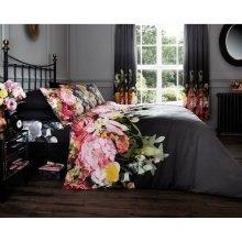 Faded Floral black cotton blend duvet cover