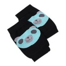Cute Panda Print Children's Crawling Kneepads Breathable Cotton Elbow Pads Black