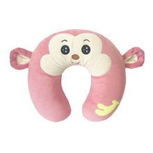 Stylish Thailand Latex Neck Protector U-Shape Pillow Neck Pillow Monkey Pink